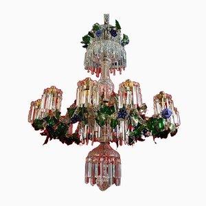 Lampadario vintage in cristallo con fiori e doppio strato