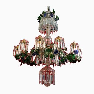 Vintage Crystal Chandelier with Flowers & Double Layer