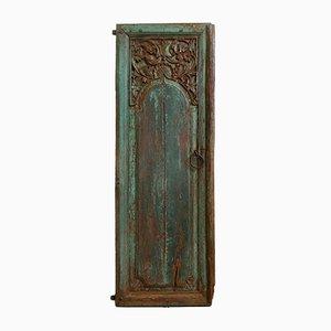 Antike indische handgeschnitzte und lackierte Tür, 1900er