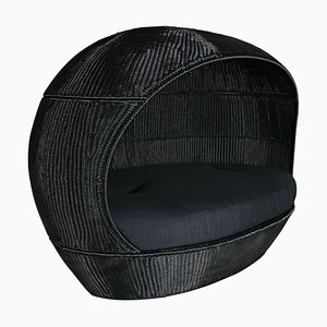 Outdoor Black Interlaced Nettuno Sofa in PLT with Black Cushion from Vgnewtrend