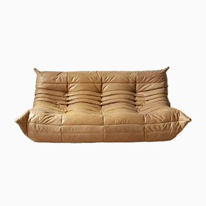 Camel Brown Leather Togo Sofa by Michel Ducaroy for Ligne Roset, 1990s