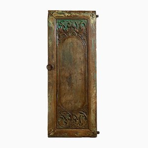 Antique Indian Hand-Carved and Painted Door, 1900s