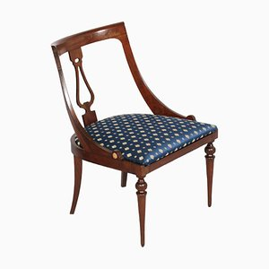 19th Century Italian Walnut Directory Gondola Chair