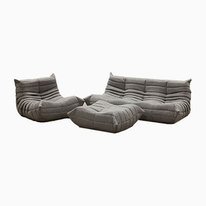 Vintage French Grey Tissue Togo Living Room Set by Michel Ducaroy for Ligne Roset, Set of 3