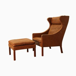 Model 2204 & 2202 Lounge Chair and Footstool by Børge Mogensen for Fredericia Furniture, Set of 2