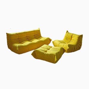 Französisches Vintage Togo Wohnzimmerset in Gelbem Mikrofaser von Michel Ducaroy für Ligne Roset, 3er Set