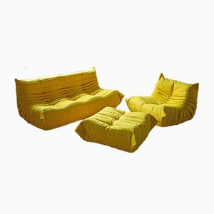 Vintage French Yellow Microfiber Togo Living Room Set by Michel Ducaroy for Ligne Roset, Set of 3