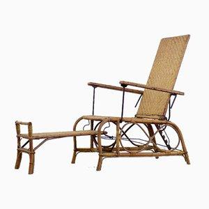 Vintage Bauhaus Rattan Chair with Ottoman by Erich Dieckmann, 1930s, Set of 2