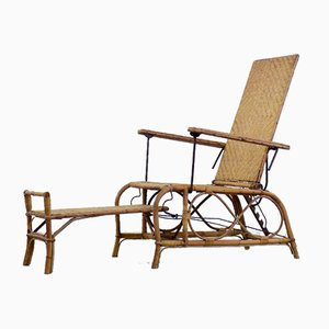 Vintage Bauhaus Rattan Chair with Ottoman by Erich Dieckmann, 1930s