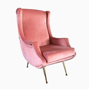 Pink Velvet Sculptural Italian Chair in the Style of Marco Zanuso, 1960s