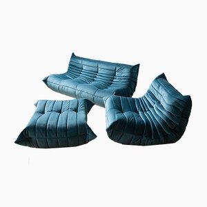 Mobilier de Salon Togo Vintage Bleu Mer en Velours par Michel Ducaroy pour Ligne Roset, Set de 3