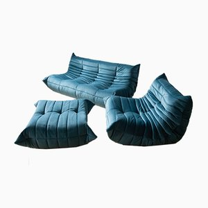 Vintage French Sea Blue Velvet Togo Living Room Set by Michel Ducaroy for Ligne Roset, Set of 3