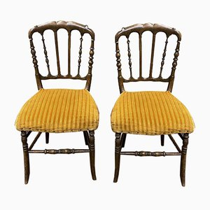 Napoleon III Beech Dining Chairs, Set of 2