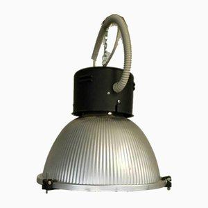 Lámpara de techo italiana industrial de aluminio y vidrio de Disano, años 80
