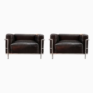 Italian Model LC3 Lounge Chairs by Le Corbusier for Cassina, 1960s, Set of 2
