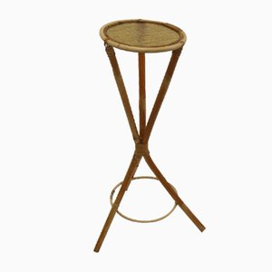 Mid-Century Bamboo & Rattan Plant Stand