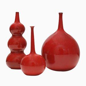 Vasi Selenium rossi di Rogier Vandeweghe per Perignem, anni '60, set di 3