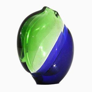 Vaso in vetro di Murano verde e blu, anni '60