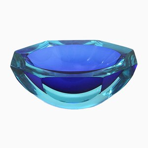 Mid-Century Oval Blue Glass Bowl, 1970s