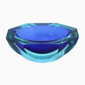 Ovale Mid-Century Glasschale in Blau, 1970er
