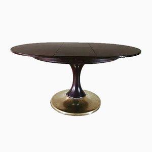 Mesa de comedor italiana Mid-Century chapada en roble y latón, años 50