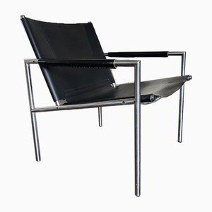 Mid-Century Modernist Steel and Thick Leather Easy Chair by Martin Visser for t Spectrum, 1960s