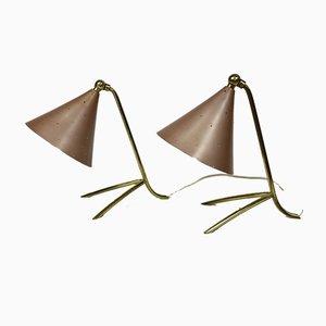 Lampes de Bureau Style Stilnovo avec Pieds en Corbeau, 1950s, Set de 2