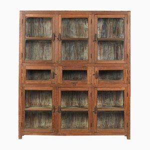 Credenza in vetro con 9 scomparti in legno, anni '40