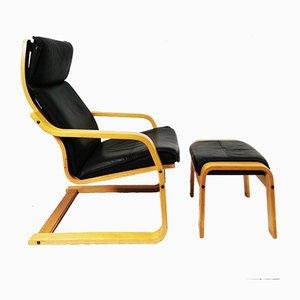 Poltrona con poggiapiedi di Verikon Furniture A / S, Danimarca, anni '70, set di 2