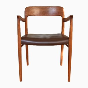 Vintage Teak & leather Model 56 Armchair by Niels Otto Møller for J.L. Møllers, 1960s