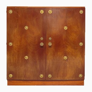 Art Deco Wardrobe with Brass Handles and Decor, 1940s