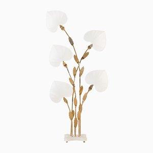 Lampada da terra grande floreale in ottone e simil bambù di Antonio Pavia, Italia, anni '70