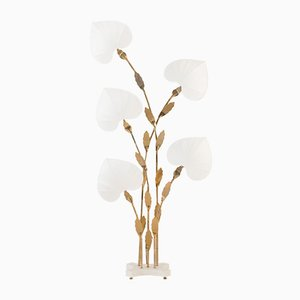 Large Floral Floor Lamp in Brass & Faux Bamboo by Antonio Pavia, Italy, 1970s