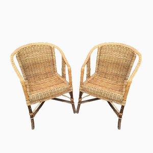 Vintage Armlehnstühle aus Rattan, 1950er, 2er Set