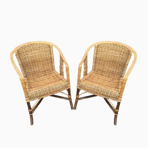 Vintage Rattan Armchairs, 1950s, Set of 2