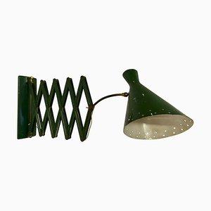 Italienische Industrielle Grüne Concertina Scissor Wandlampe, 1950er