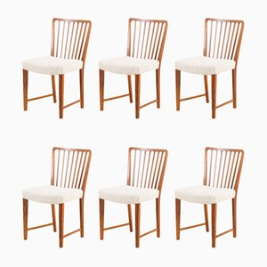 Solid Walnut Dining Chairs Boucle Wool by Frits Henningsen for Henningsen, Denmark, 1950s, Set of 6