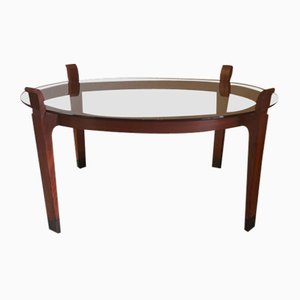 Rosewood and Brass Coffee Table with Glass Top, 1967