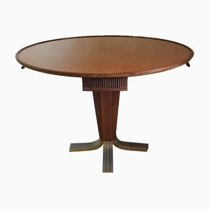Mahogany Game Table with Brass Foot and 4 Drawers, 1952