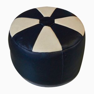 Vintage Black and White Ottoman, 1970s