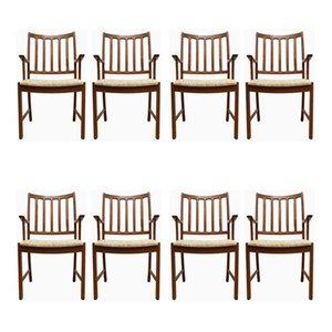 Chaises de Salon Mid-Century en Teck par Johannes Andersen pour Uldum Mobelfabrik, Set de 8