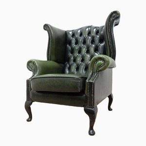 Vintage Queen Anne Style Green Leather Wingback Armchair by Chesterfield