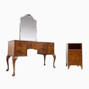 Art Deco Frisiertisch aus Nussholz mit Spiegel, Hocker und Nachtkästchen