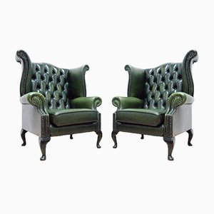 Vintage Queen Anne Style Green Leather Wingback Armchairs by Chesterfield, Set of 2