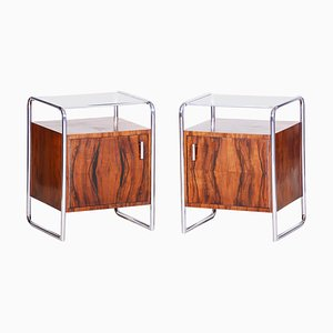 Bauhaus Walnut Bedside Tables from Mucke-Melder, Czechoslovakia, 1930s, Set of 2