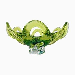 Cuenco checo de vidrio artístico de Josef Hospodka para Chribska Glassworks, años 60