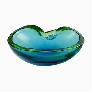 Italian Murano Bowl in Light Blue Mouth Blown Art Glass, 1960s