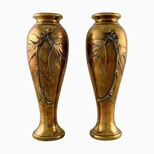 French Art Nouveau Bronze Vases with Flowers in Relief, 1890s, Set of 2