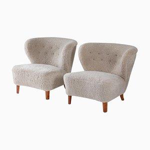 Swedish Lounge Chairs in Dark Pink Velour by Gösta Jonsson, 1940s, Set of 2