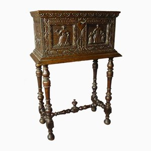 Antique Carved Chest on Base